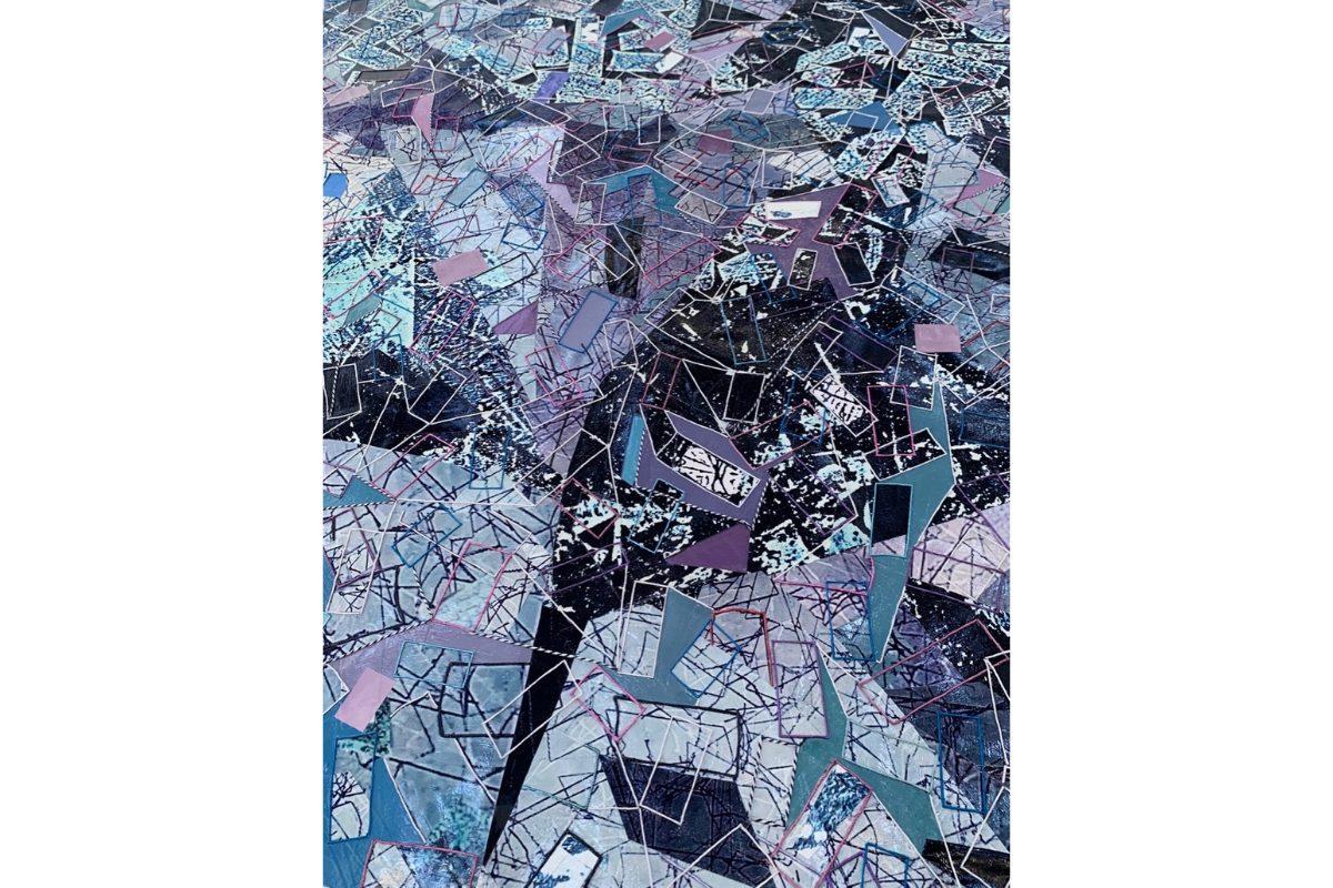 "Deborah Lynn Irmas, Send it thru Krishna (Detail), 2020. 75.5"" x 95"". Photo collage, twine, acrylic, foil, metallic paint, poster paper and Japanese paper with digital print. Courtesy of the artist."