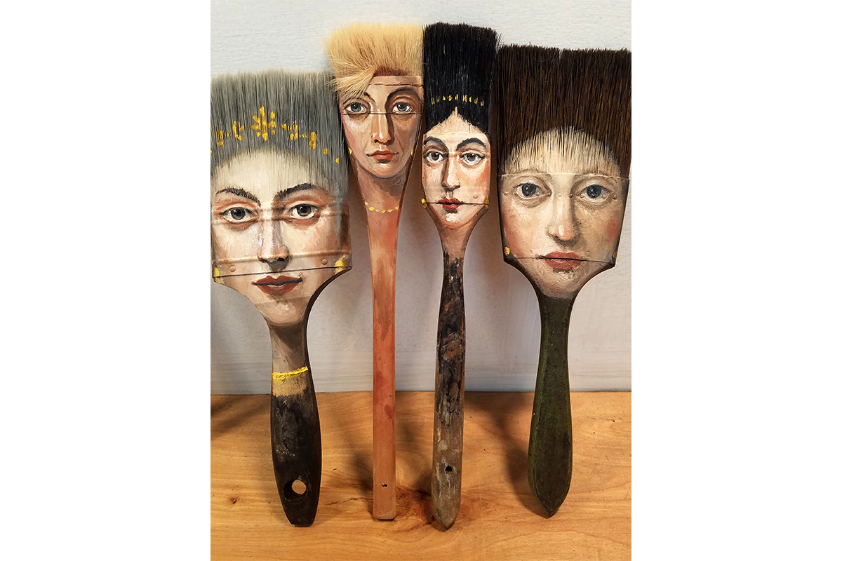 Alexandra Dillon, Four Ladies, 2017. Oil and acrylic on used paint brushes. Various dimensions at approximate 11 x 4 to 12 x 1.5 inches. Courtesy of the artist.