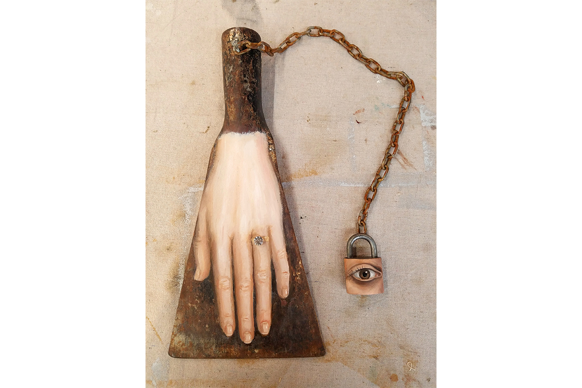Alexandra Dillon, The Engagement, 2017. Oil on vintage shovel head, costume jewel, padlock, chain. 15 x 7.5 x 12 inches. Courtesy of the artist.