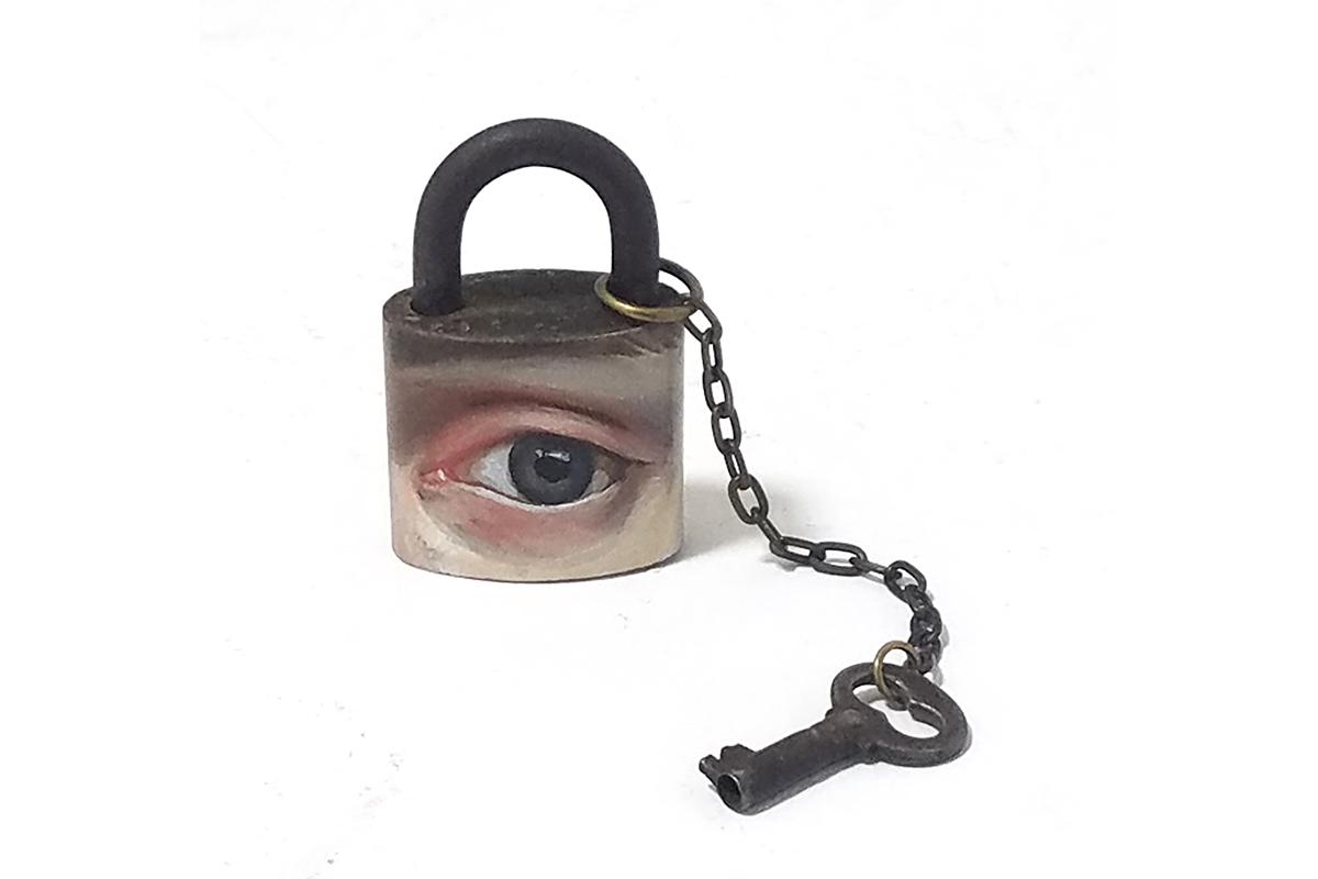 Alexandra Dillon, Lock and Key, 2018. Oil and acrylic on vintage padlock, vintage key, chain. 2.5 x 2.5 inches. Courtesy of the artist.