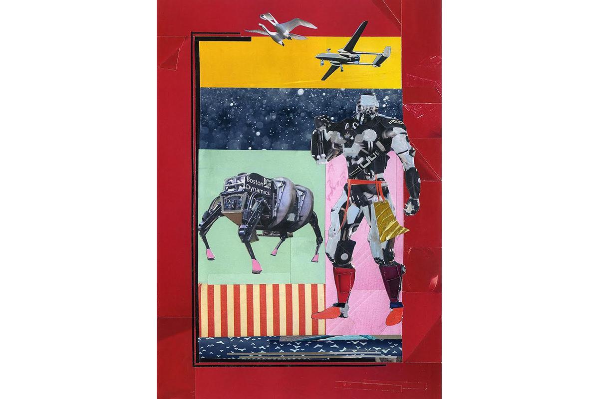 Ameeta Nanji, RoboSpot, 2015. Paper collage. 16 x 18 inches. Courtesy of the artist.