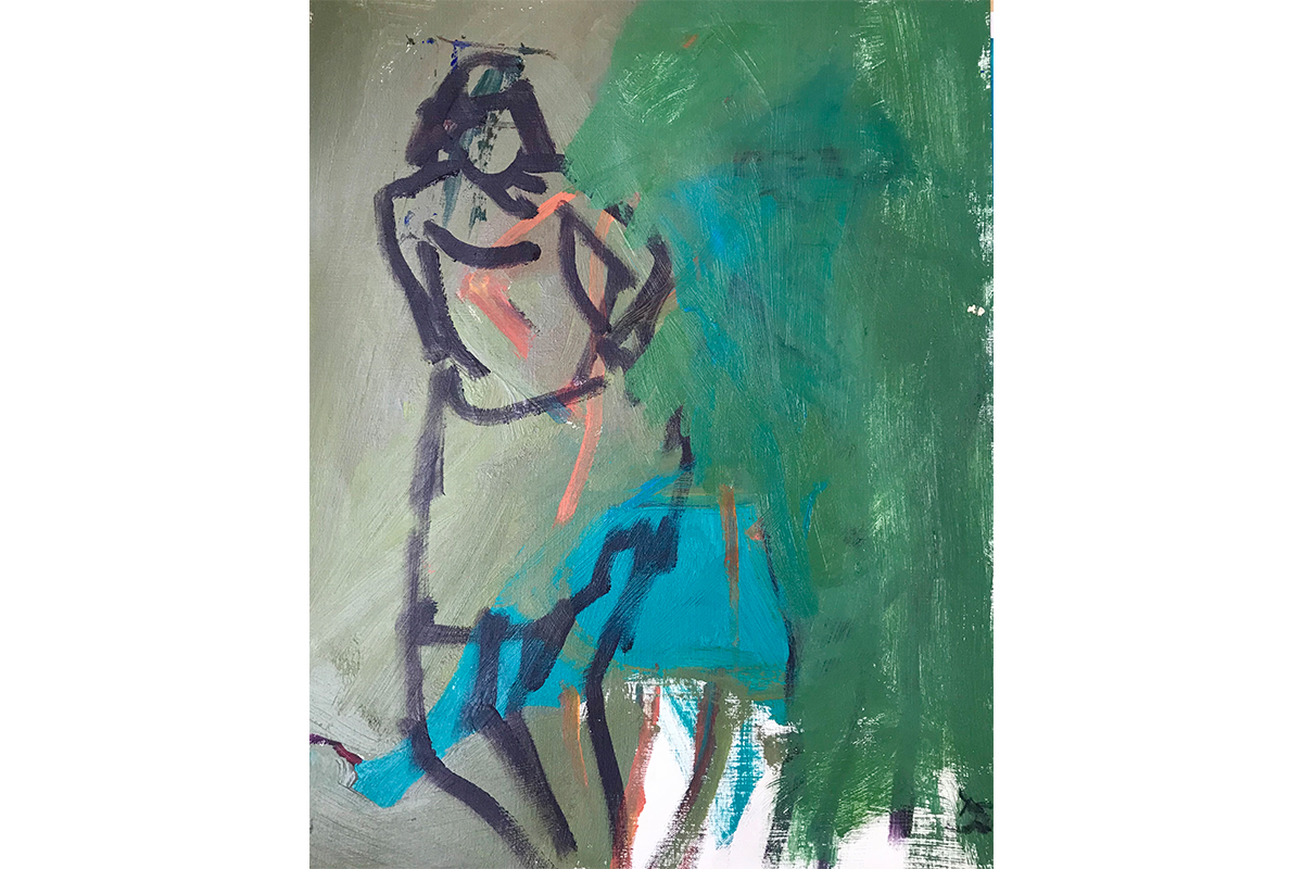 Daniela Schweitzer, Blue Towel, 2018. Oil on paper. 20 x 14 inches. Courtesy of the artist.