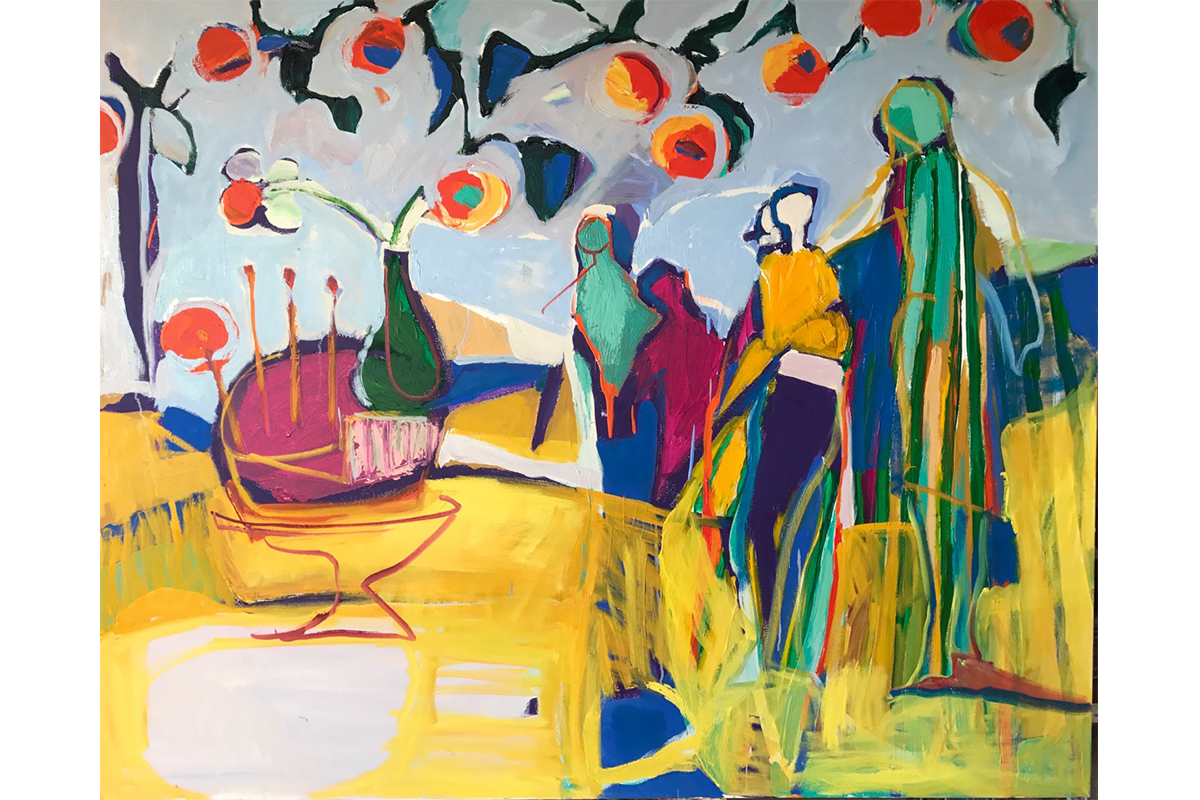 Daniela Schweitzer, Celebrate, 2018. Oil on canvas. 48 x 60 inches. Courtesy of the artist.