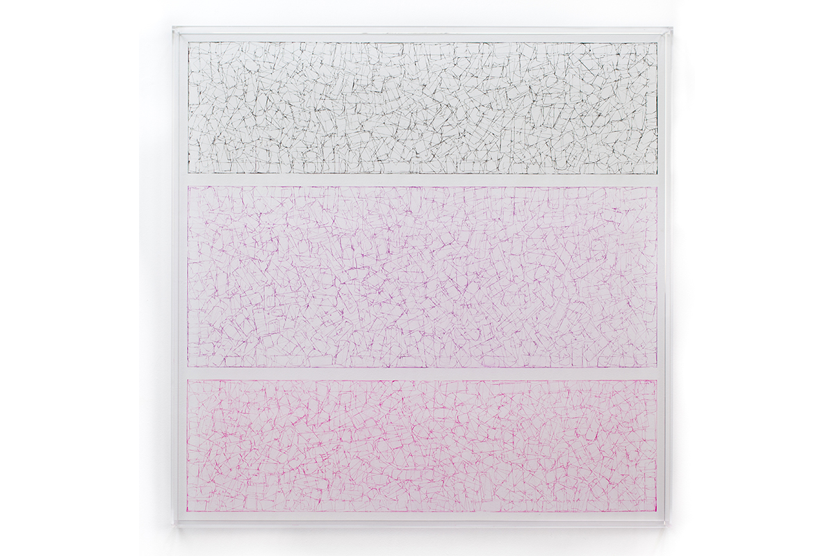 Deborah Lynn Irmas, Unbroken (Triptych), 2018. Tape, ink, acrylic & plexiglass. 36 x 36 inches. Courtesy of the artist.