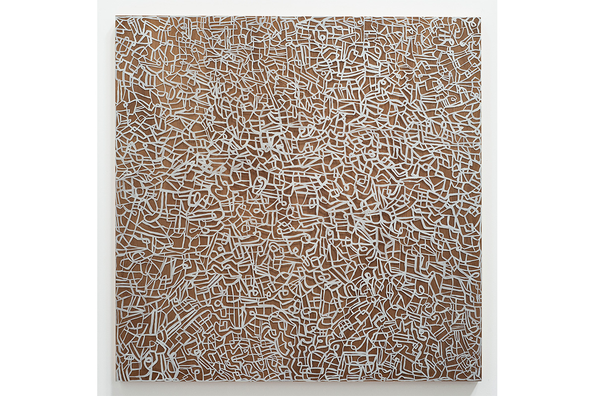 Deborah Lynn Irmas, Not Lost 2, 2017. Oil, glue, plexiglass & wood panel. 36 x 36 inches. Courtesy of the artist.