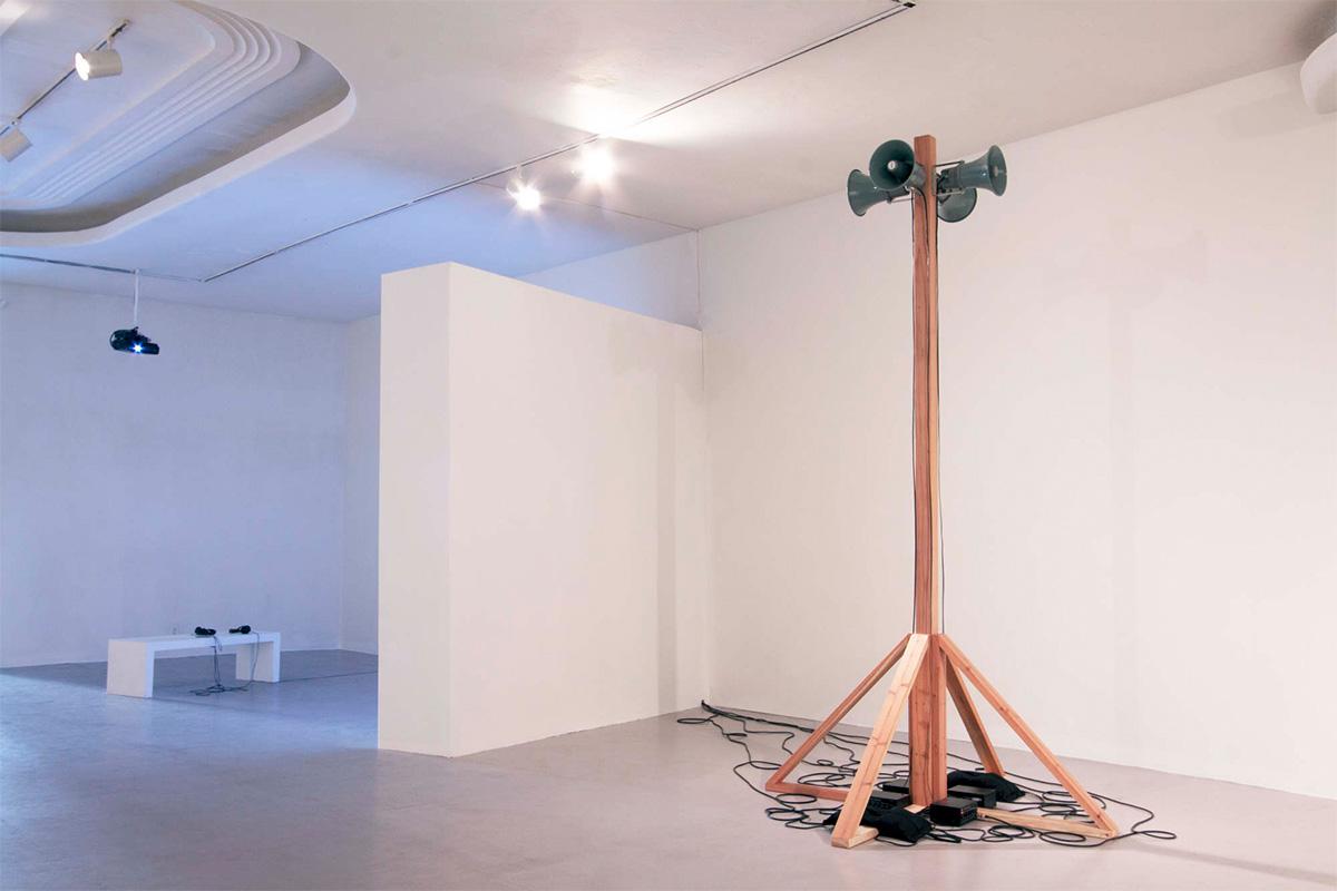 "Jimena Sarno, public address, 2016. Sculpture and sound installation. 2'47"". Courtesy of the artist."