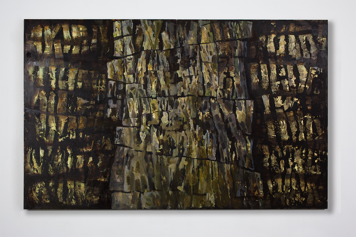 Joan Wulf, Stacked, 2017. Dry pigment, oil and wax on wood panels. 60 x 96 inches. Photo by Stacie Jaye Meyer.