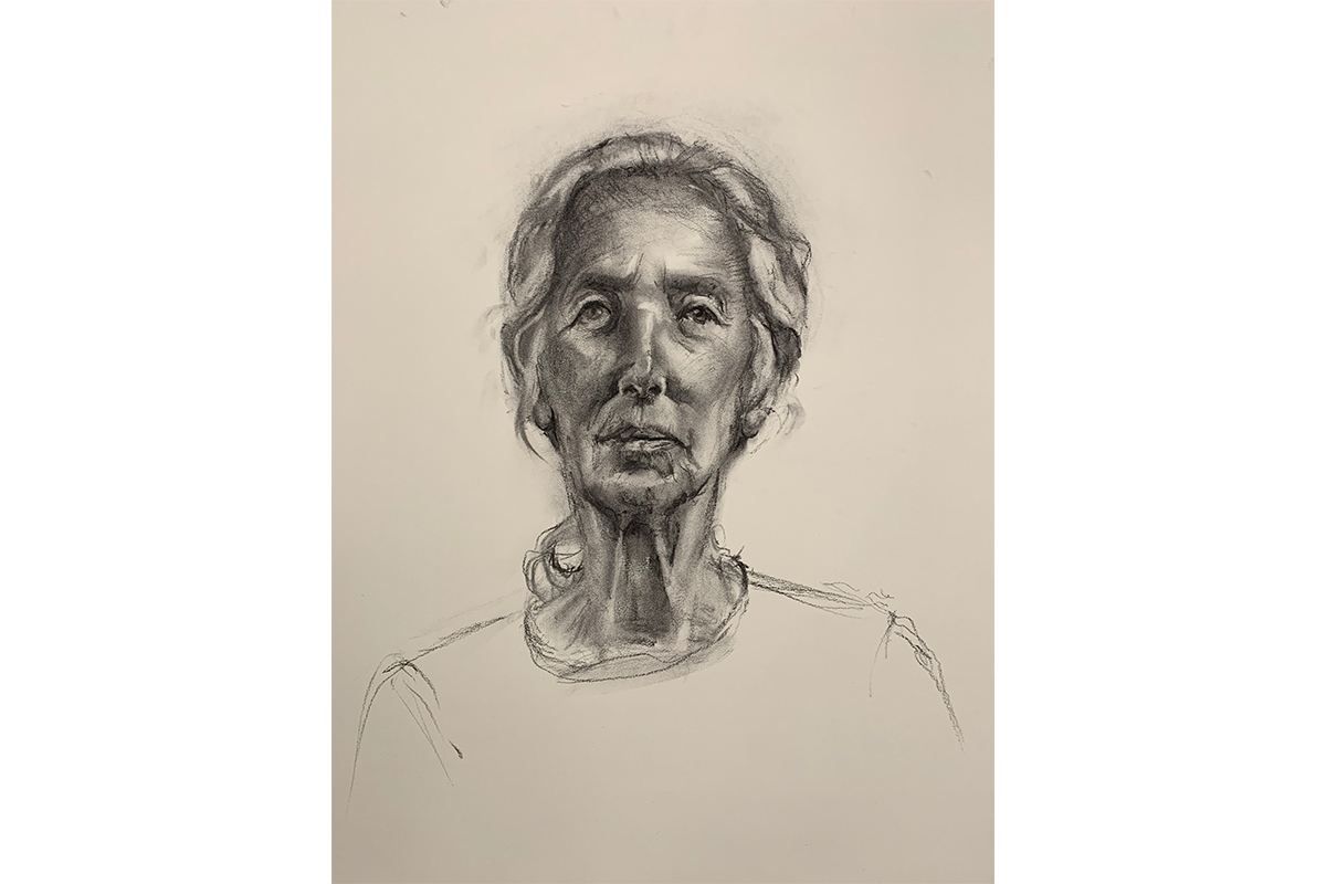 M Susan Broussard, Susanna III, 2019. Charcoal and Conté on paper. 24 x 18 inches. Courtesy of the artist.