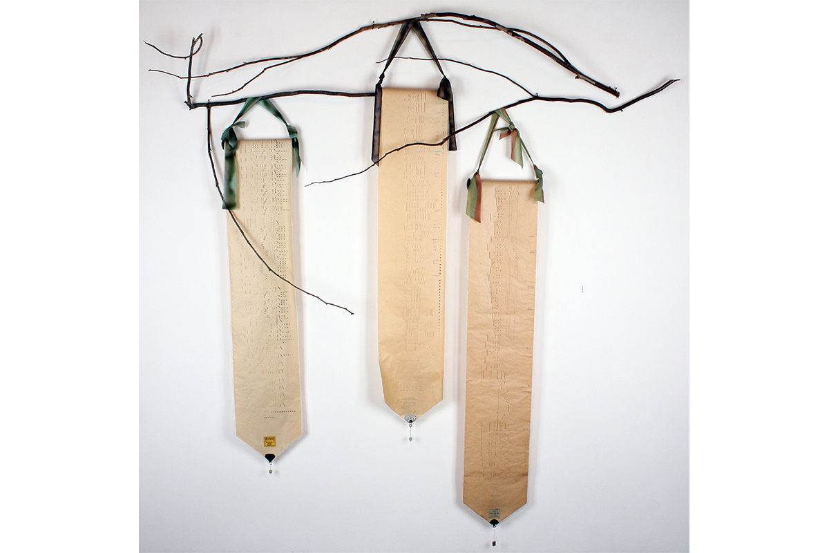 Maddy LeMel, HereTheyCome, 2009. Mixed media. 62 x 32 x 3 inches. Photo by Terry Wimmer.