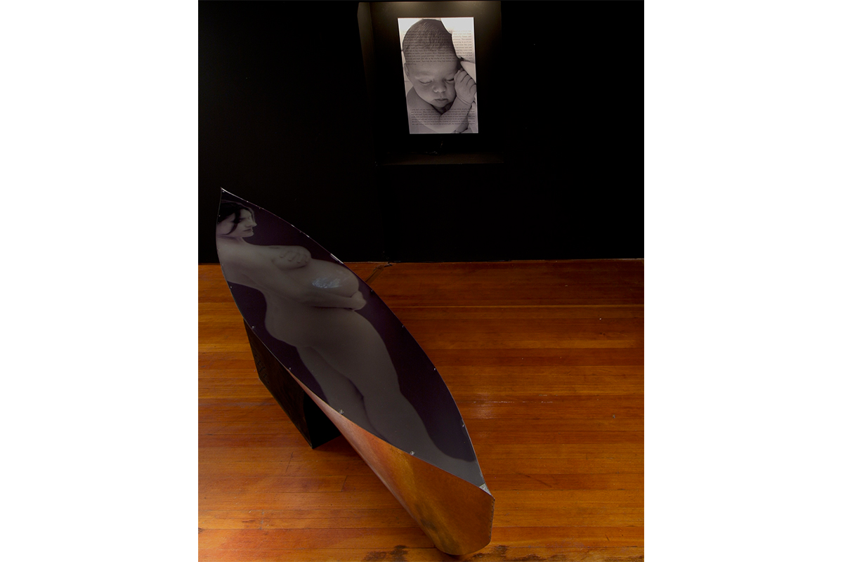 Rachel Grynberg, Blessing, 2004. Photograph, plexiglas, steel. 60 x 60 x 120 inches. Photo by Gene Ogami.