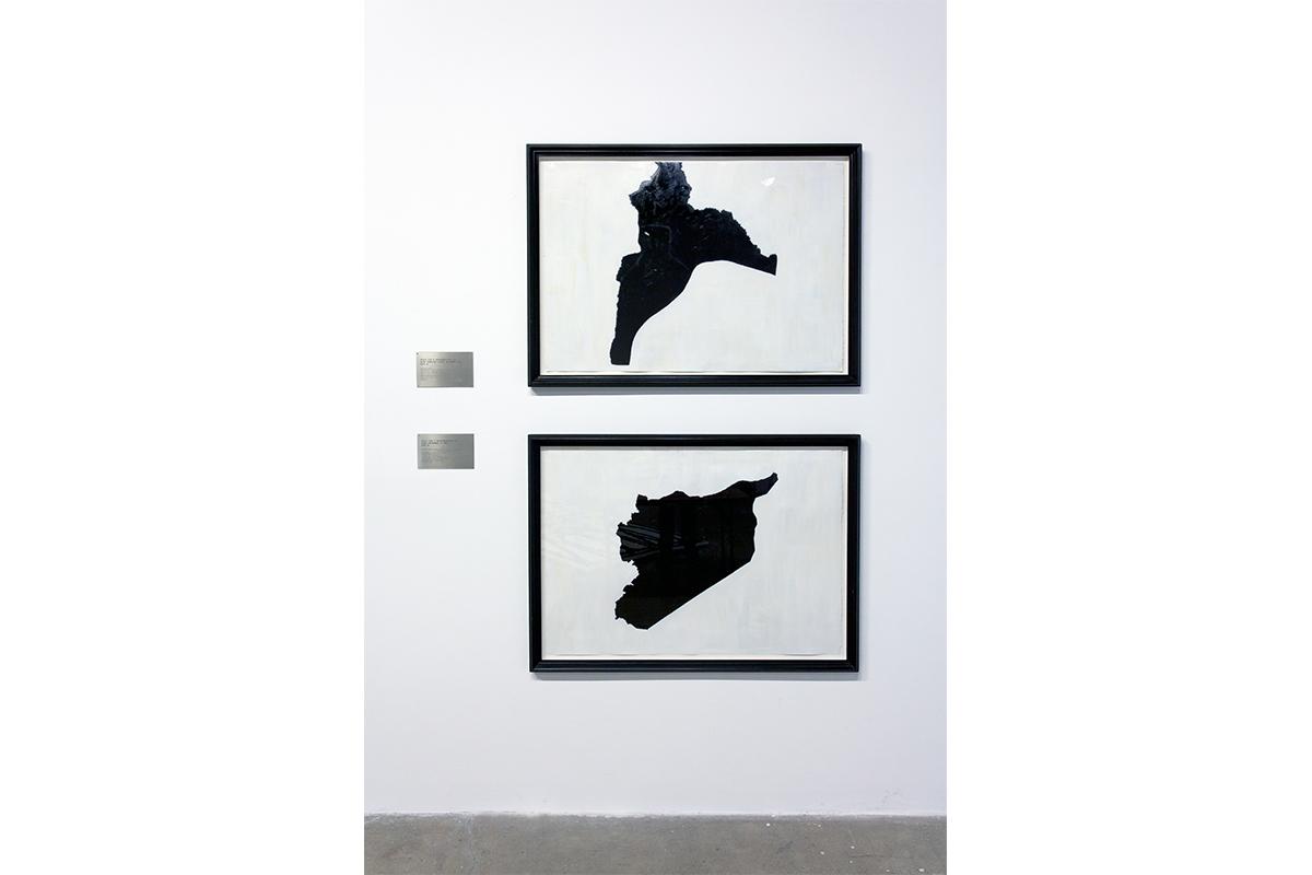 Renée Petropoulos, Study For A Representation of Syria, Part A and Part B, 1989-90. Oil on paper, framed - 2 parts with engraved brass plaques. Each at 37 ⅞ x 46 ¼ inches. Courtesy of the artist.