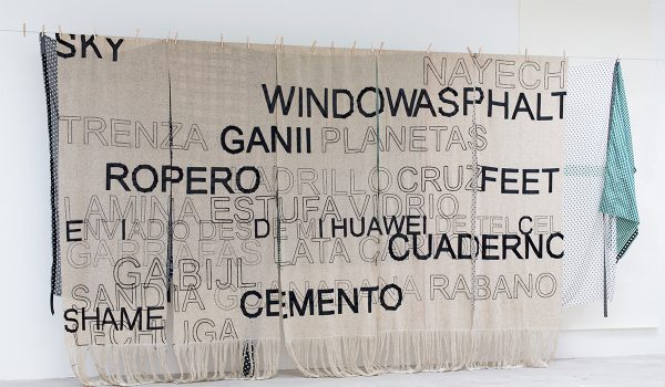 Renée Petropoulos With Arturo Hernandez, Platforms & Wool, 2018. Studio View. 96 X 222 Inches. Courtesy Of Museo De Arte Contemporanea De Oaxaca, Mexico.