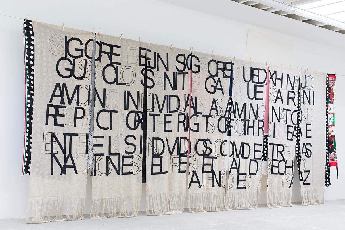 Renée Petropoulos with Arturo Hernandez, Platforms & Wool, 2018. Studio view. 96 x 222 inches. Courtesy of Museo de Arte Contemporanea de Oaxaca, Mexico.