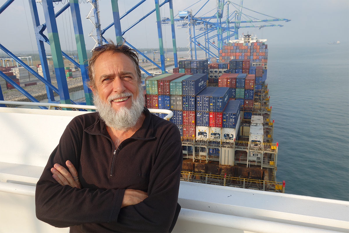 Stephen Eastaugh on board cargo ship at Port of Klang, Malaysia.