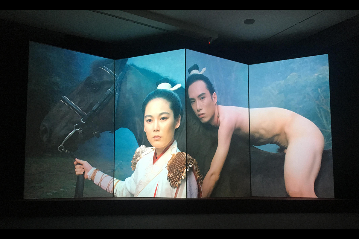 "Su Hui-Yu, The Glamorous Boys of Tang (1985, Qiu Gang-Jian), 2018. Video installation. Color/sound. 15'00"". Exhibition view at the National Taiwan Museum of Fine Art. Courtesy of the artist."