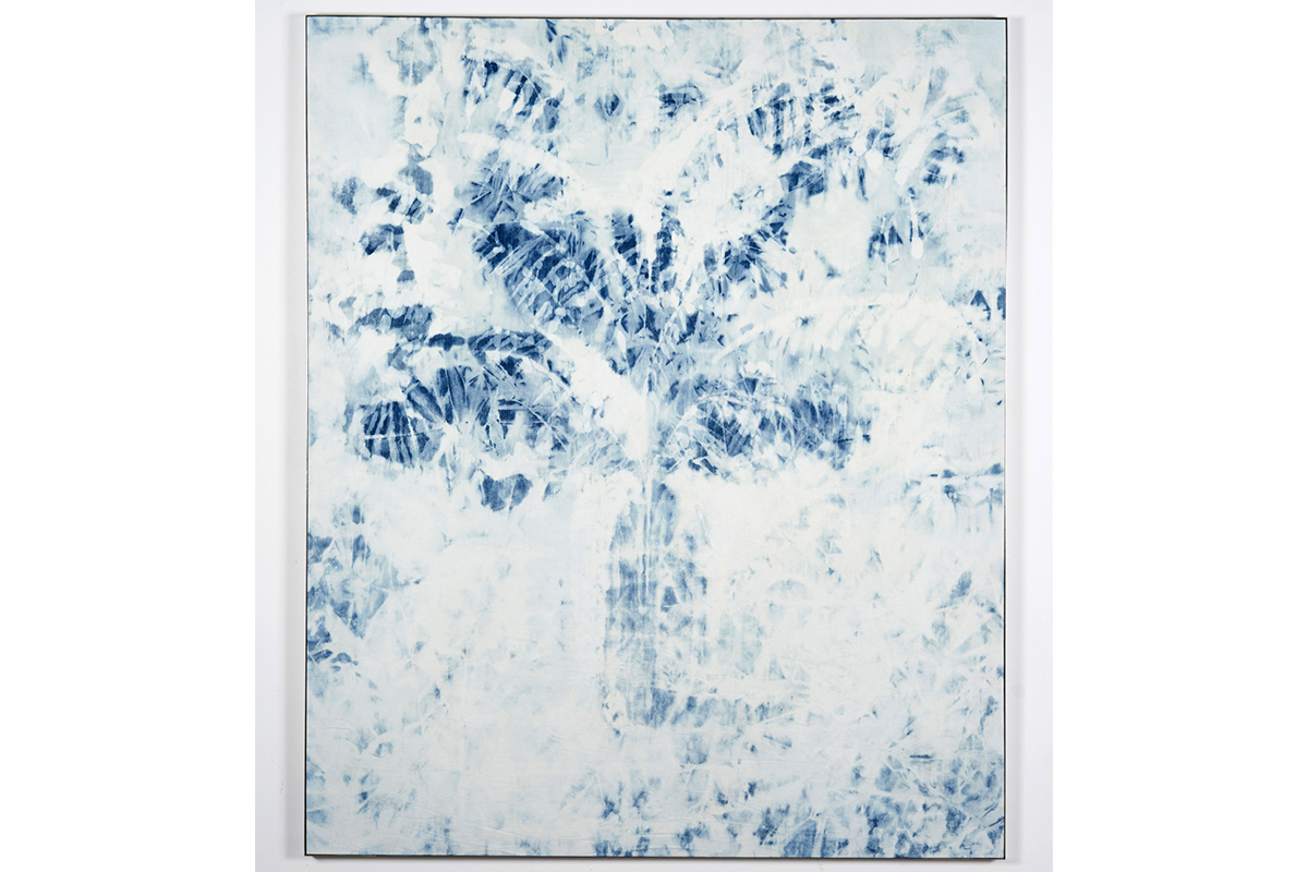 Verena Schöttmer, For J.S., 2017. Chlorine bleach on denim. 140 x 169 cm. Courtesy of the artist.