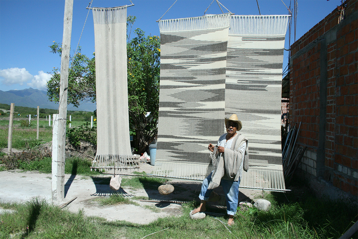 Arturo Hernández, Photo Of The Rebozos Drying Process. Courtesy Of The Artist.