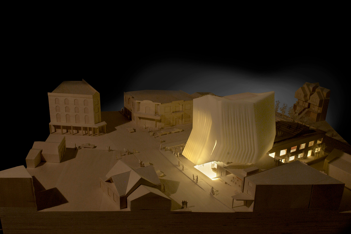 Brooks + Scarpa, model of Kimball Art Center, Park City, Utah, 2012. Basswood, 3D resin prints, 3D powder prints, MDF, plywood, laser cut museum board. 48 x 32 x 24 inches. Courtesy of the artist.