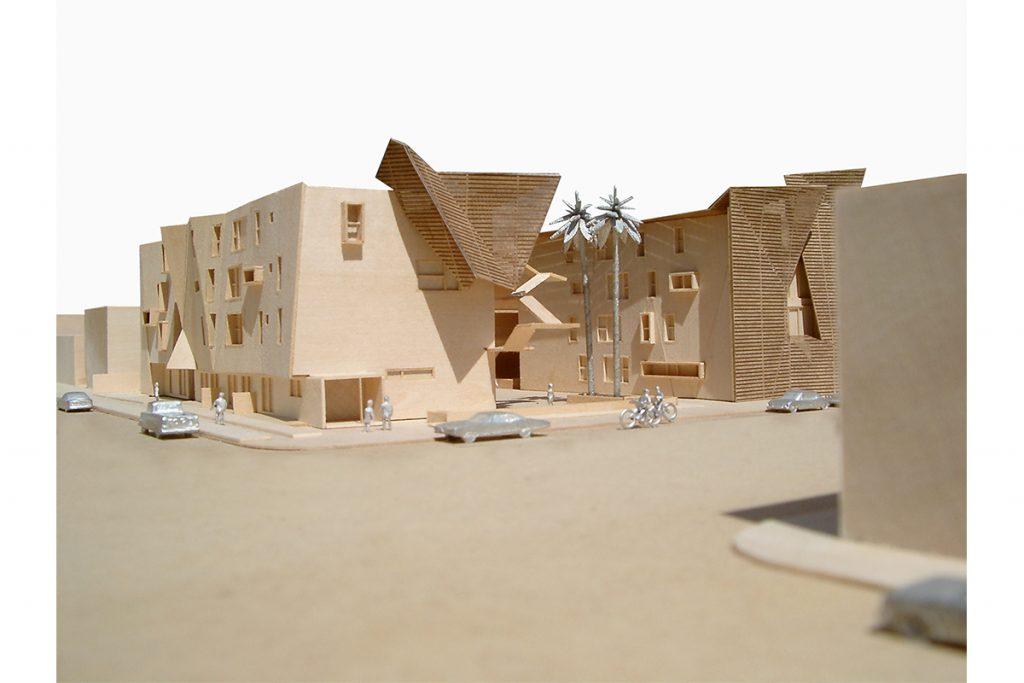 Brooks + Scarpa, model of Broadway Multi-family Housing, Santa Monica, California, 2005. Basswood, laser cut museum board. Courtesy of the artist.
