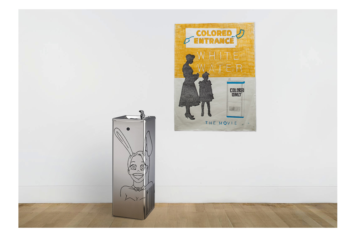 """Katya Kan and Jonny Tanna, White Water the Movie, 2014. Color pencils on paper with metal water fountain with """"Digital Kattan"""" print. 42 x 59 cm and 28 x 21 x 18 cm respectively. Courtesy of the artist."""