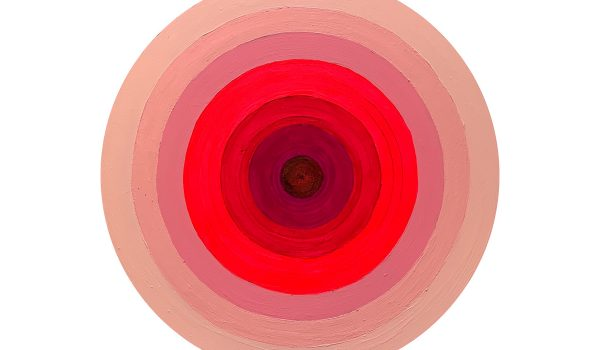 "Gina Dominique, Concentric Pink Circles, 2018. Acrylic And Pencil On Board. 22"" Diameter. Courtesy Of The Artist."