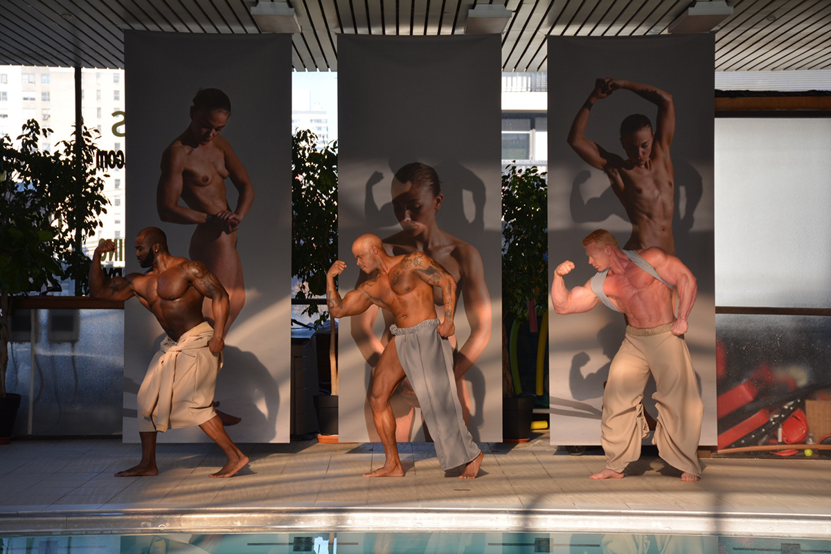 OCEANS BREATHE SALTY, 2015. Curated By Mette Woller. Complete Body, Performance. Choreography By Contemporary Cruising (Tomislav Feller And Manuel Scheiwiller), Clothing By Anissa Djeziri & Mette Krebs, Exhibition Design By Mette Woller. Back: Lea Guldditte Hestelund, Orlando '15. New York. Photo By Søren Aagaard.