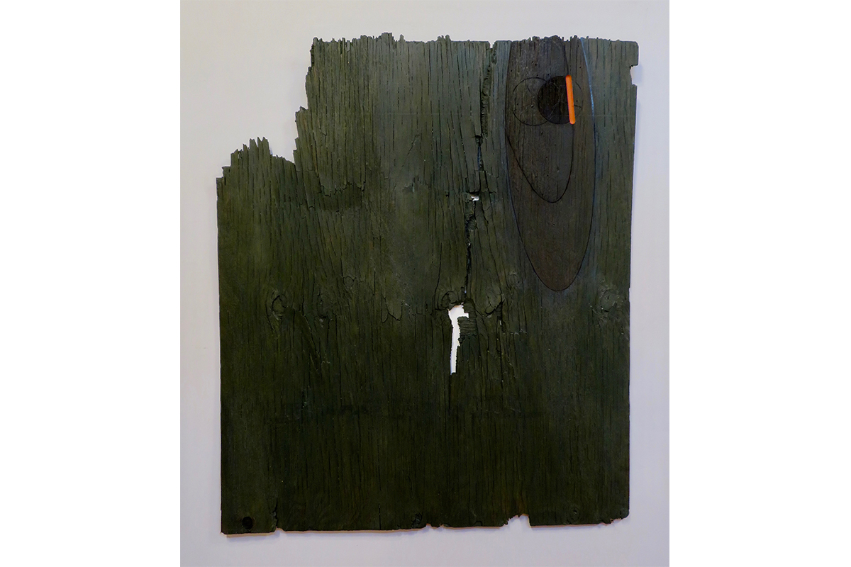"Ted Thirlby, Anahata, 2019. Plywood, stain, oil paint. 57"" x 48"". Courtesy of the artist."