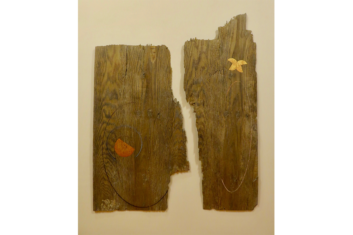 """Ted Thirlby, Mitosis, 2019. Plywood, stain, oil paint. 63.5 x 52"""". Courtesy of the artist."""