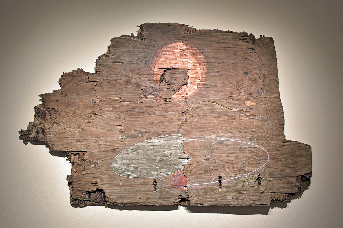 "Ted Thirlby, Root Chakra, 2018. Plywood, Stain, Oil Paint. 35"" X 56"". Courtesy Of The Artist."