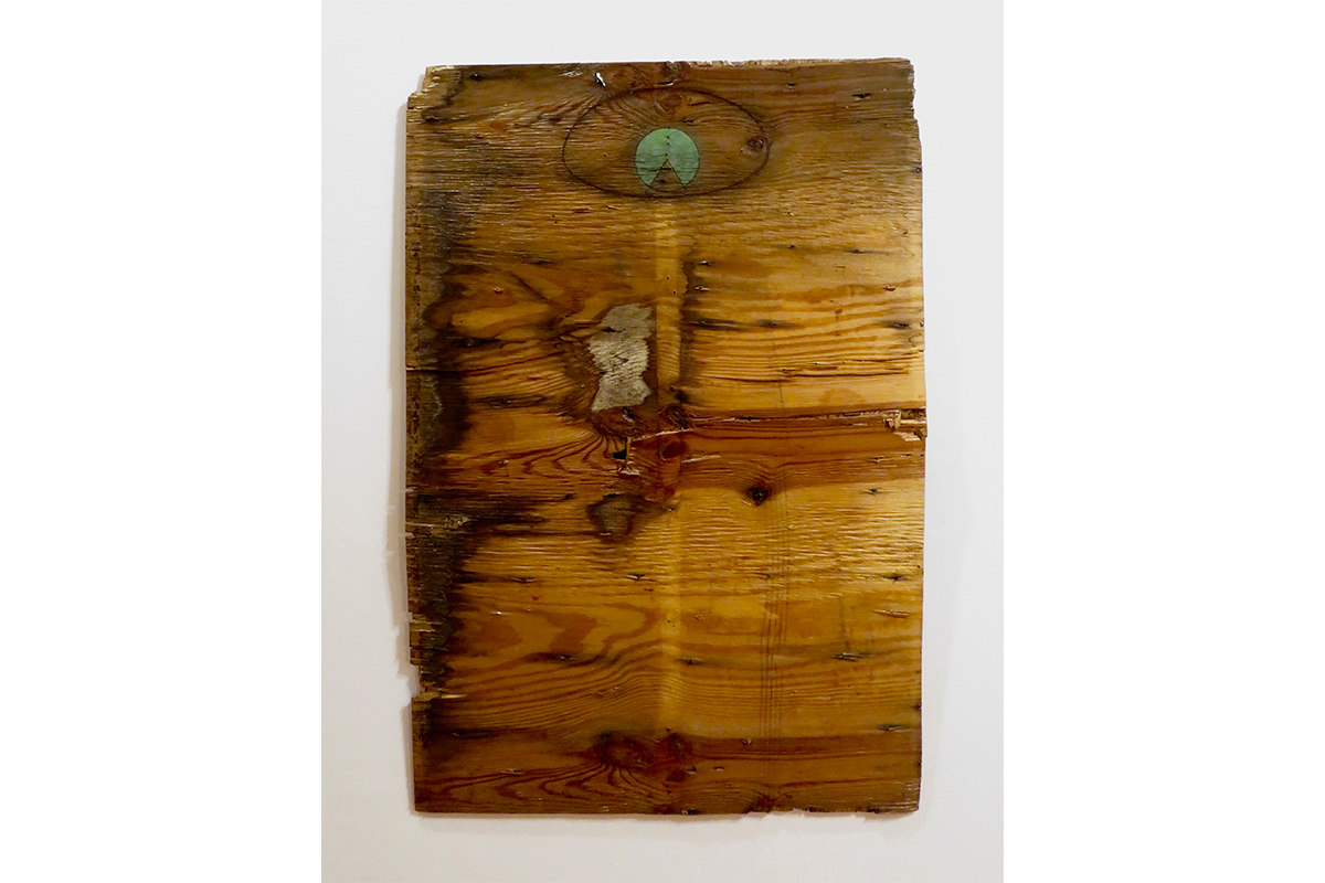"""Ted Thirlby, Transfiguration, 2019. Plywood, oil paint. 48"""" x 32.5"""". Courtesy of the artist."""