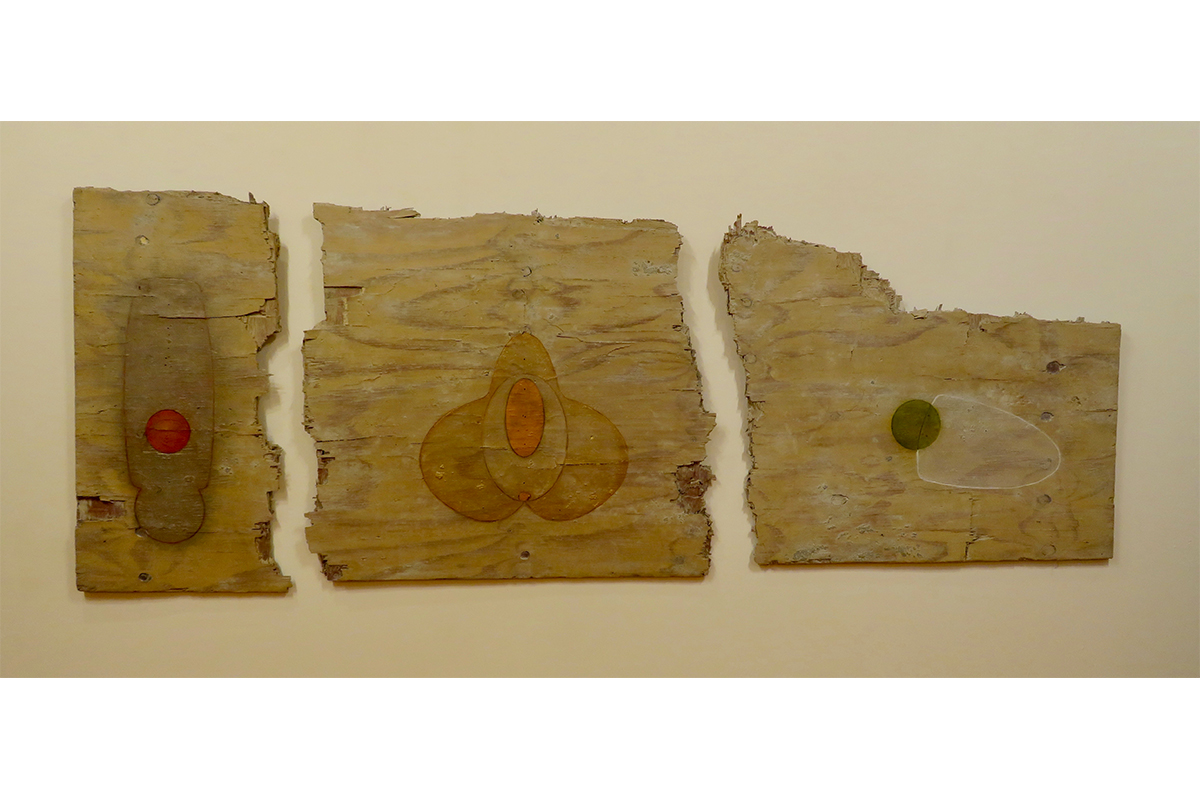 "Ted Thirlby, Triptych, 2019. Plywood, stain, oil paint. 40"" x 107"". Courtesy of the artist."