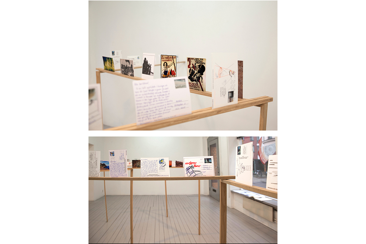 Helena Fernández-Cavada, Postcards from a stranger, 2019. 30 postcards and wood structure. Variable dimensions. Courtesy of the artist.