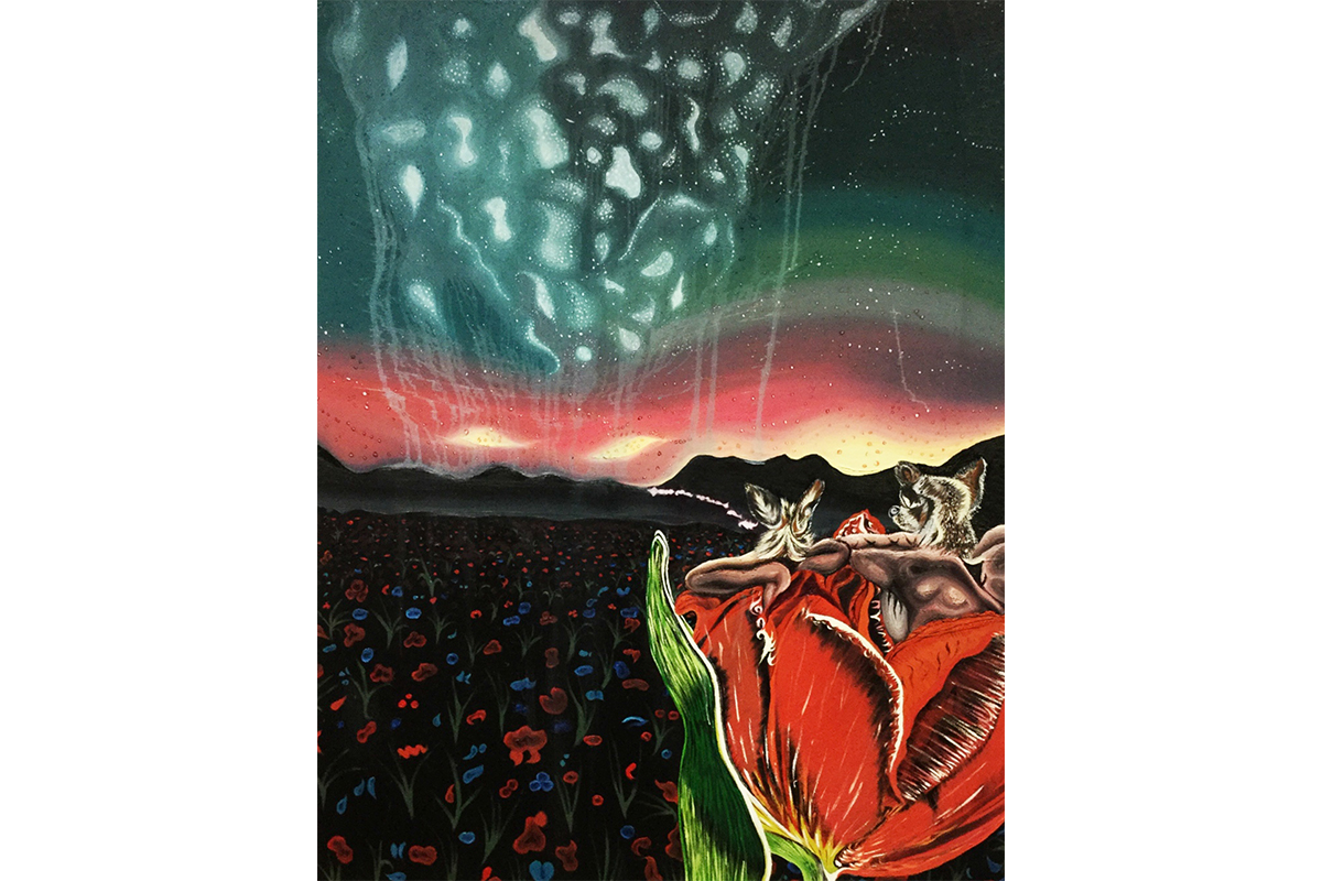 Katya Kan, Entropy, 2019. Triptych, oil on canvas. 100 x 136 cm. Courtesy of the artist.