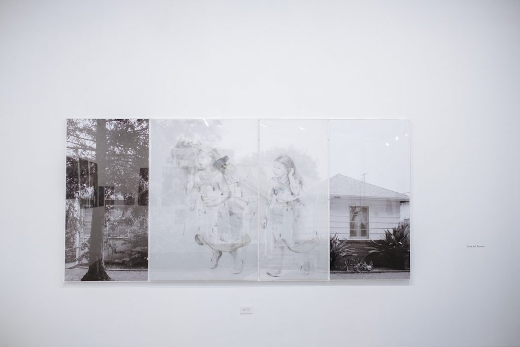 Lola del Fresno, Girl Running, 2015. Graphite, acrylic on mylar, photograph, plexi-glass. 63 x 133 in. Installation view. Photo by Kenji Barrett.