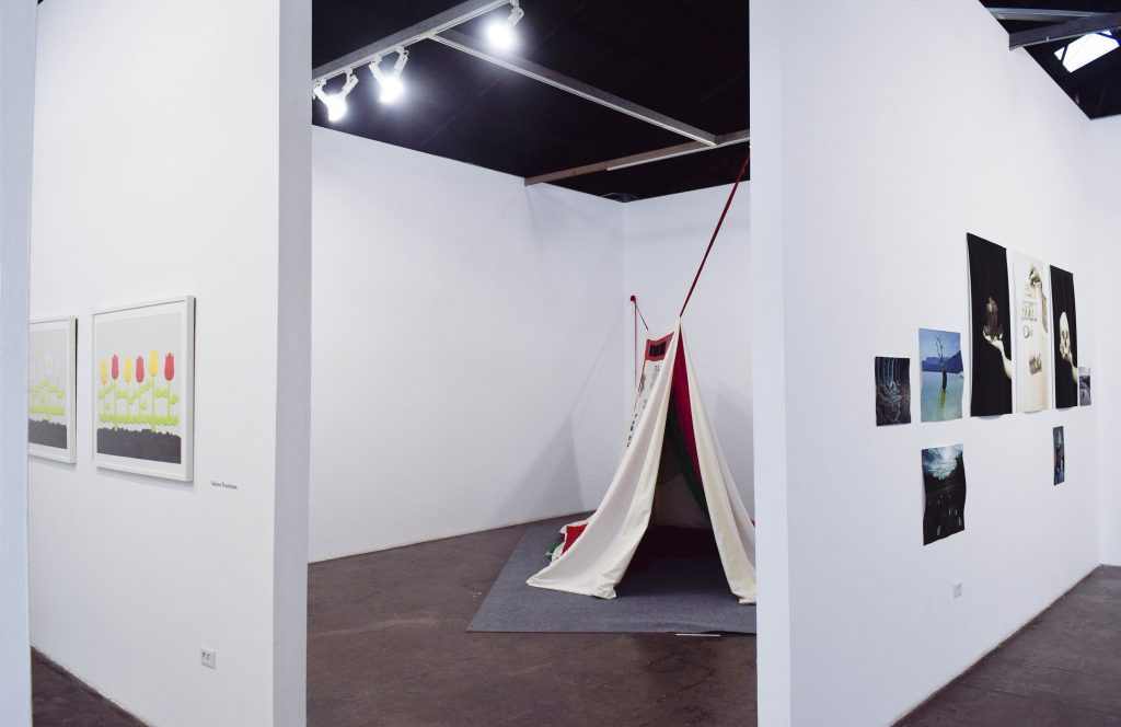 Eunice Adorno, Falda Dinamita (Dynamite Skirt), 2019. Mixed media, 94.5x86.6 in. Installation view. Photo credit: Juan Silverio.