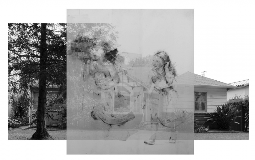 Lola del Fresno, Girl Running, 2015. Graphite, acrylic on mylar, photograph, plexi-glass. 63 x 133 in. Courtesy of the artist.