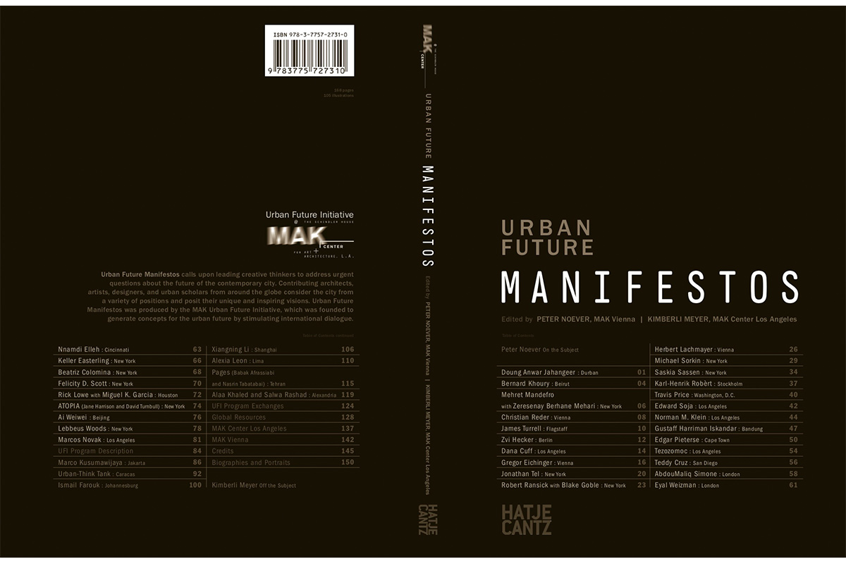 Front and back book cover of Urban Future Manifestos, culminating publication of the MAK Center's Urban Future Initiative, 2010