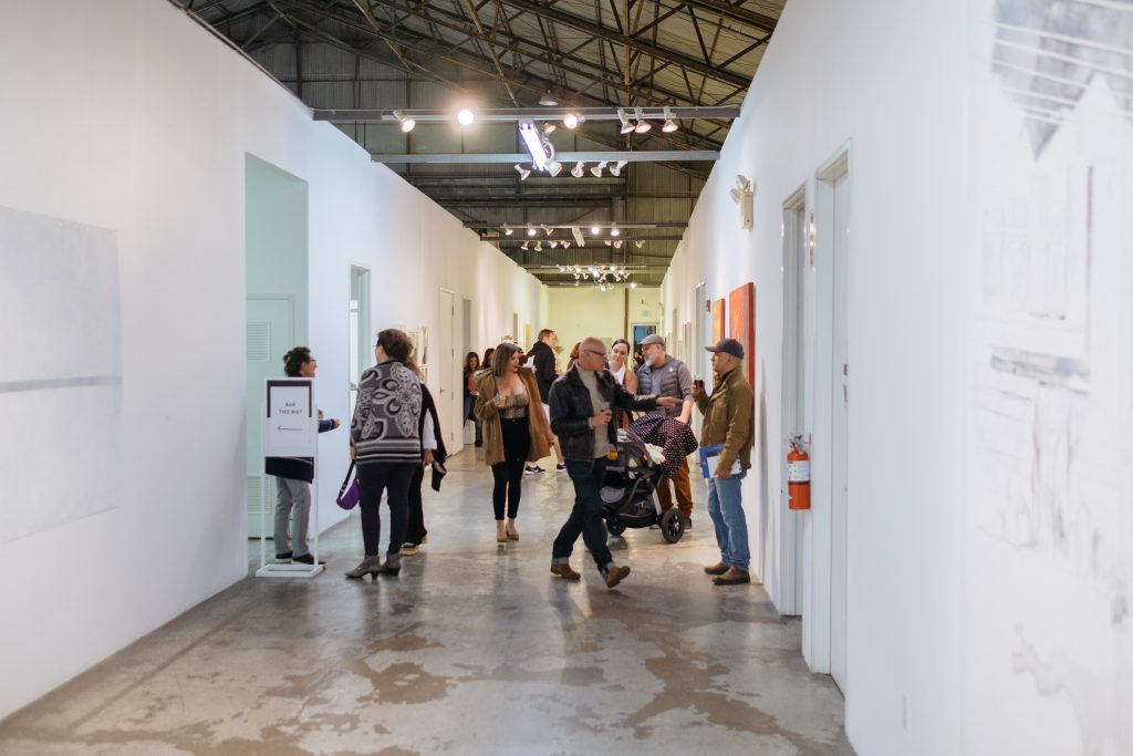 Installation view at opening reception, February 22, 2020.