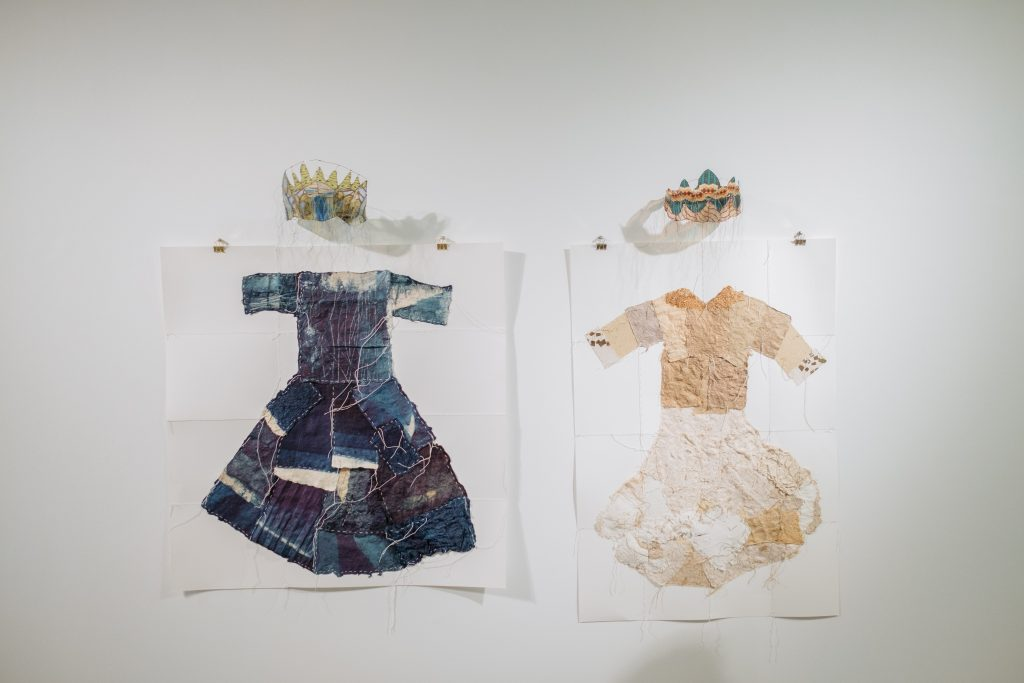 Gwen Samuels, Sometimes a Princess, 2019, and Always a Queen, 2019. Handmade paper, wire, digital print, thread. Courtesy of the artist. Gwen Samuels, Always a Queen, 2019. Handmade paper, indigo dye, wire, digital print, thread. Courtesy of the artist.