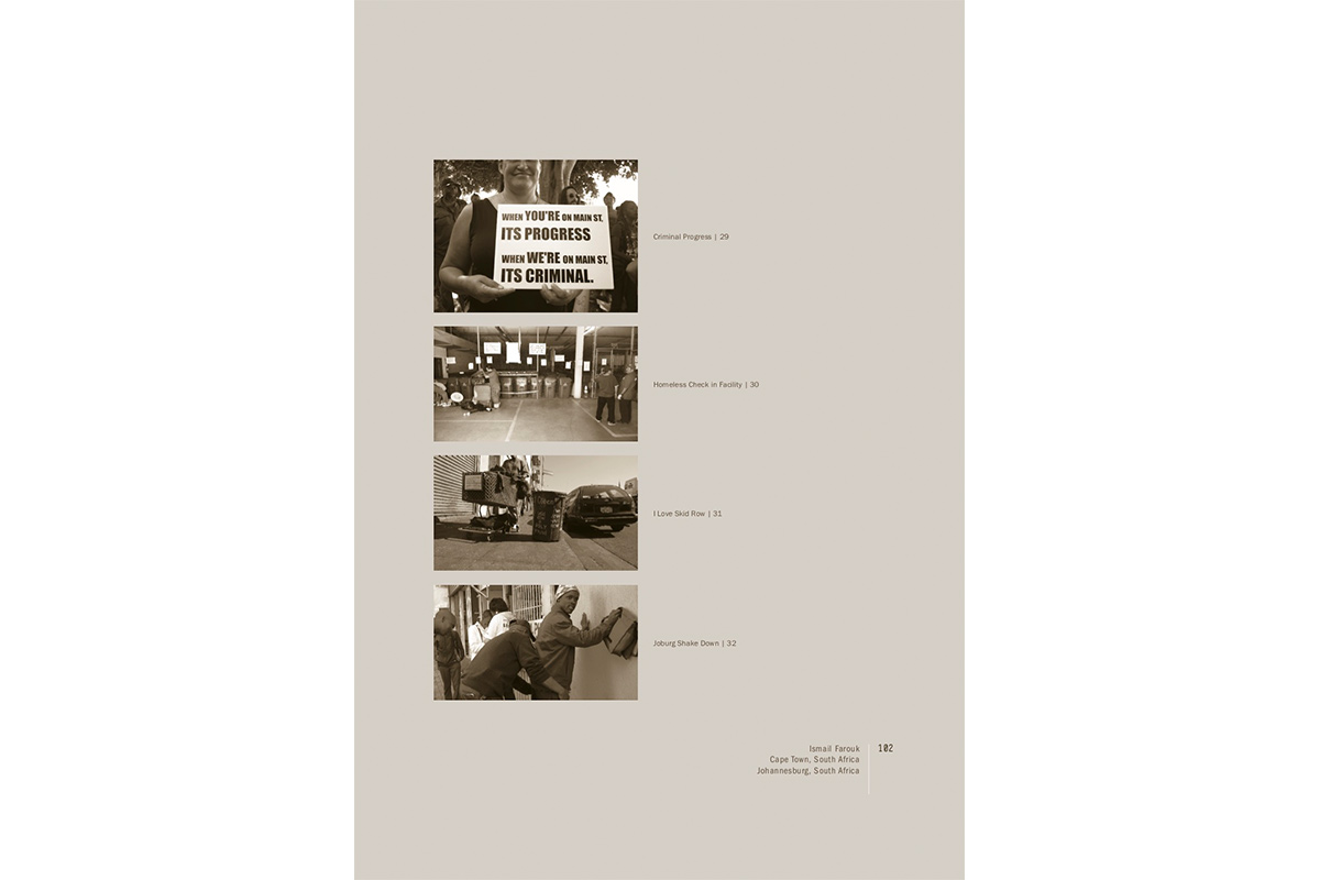 Project page for Creative Strategies for Spatial Justice by fellow Ismail Farouk from Cape Town and Johannesburg, South Africa, as part of Urban Future Manifestos, culminating publication of the MAK Center's Urban Future Initiative, 2010
