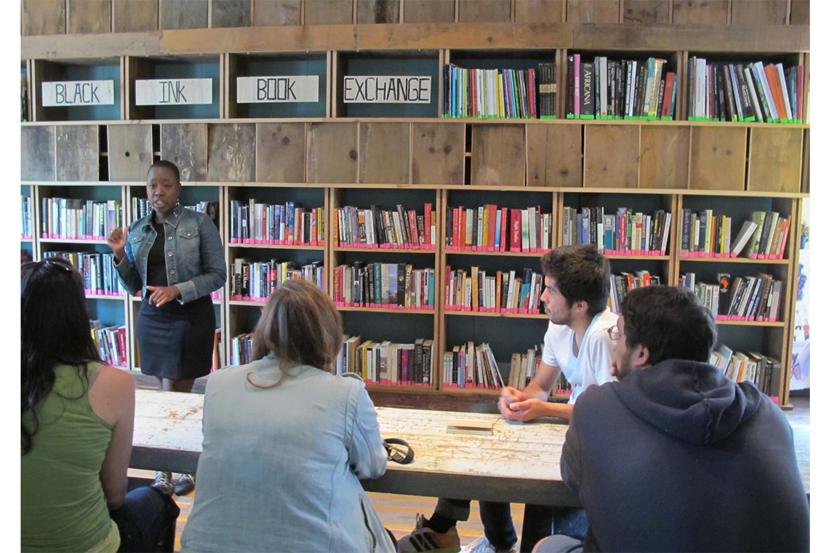 For Midwest Artist Exchange, Jeffreen Hayes gives an introduction to Rebuild Foundation in Chicago, in connection with the Milwaukee Artist Resource Network, 2014