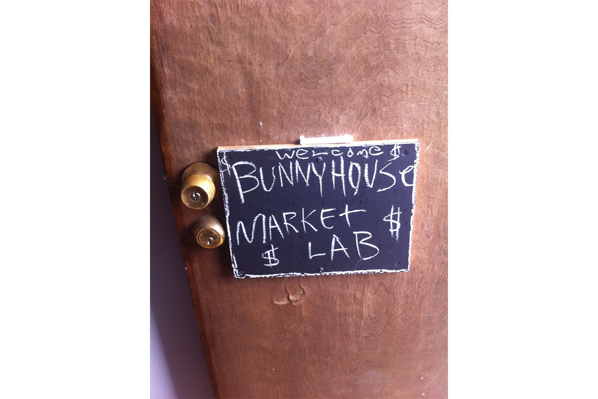 Market Lab sign with Otis College of Art and Design Graduate Public Practice Program at THE BUNNY HOUSE, 2016