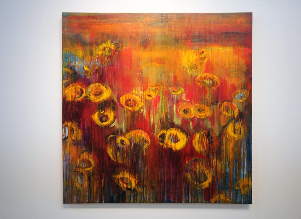Loren Harris Heller, Sunflower Field, 2019. Acrylic on canvas. Courtesy of the artist.