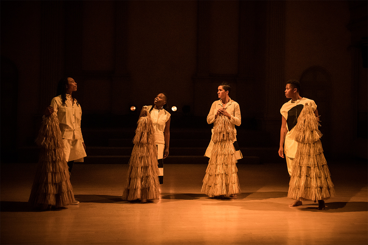 Shayla Vie Jenkins, Ni'Ja Whitson, Paloma McGregor, and Kirsten Davis in Oba Qween Baba King Baba. Photo by Ian Douglas. Courtesy of the artist.