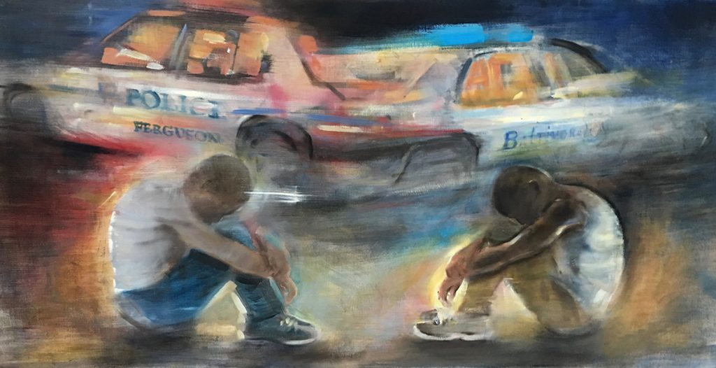 """Gregg A Chadwick, America's Sons - From Ferguson, To Baltimore, to Minneapolis, 2014-2020. Oil on Linen. 24"""" x 48"""". Photo by the artist. Courtesy of the artist."""
