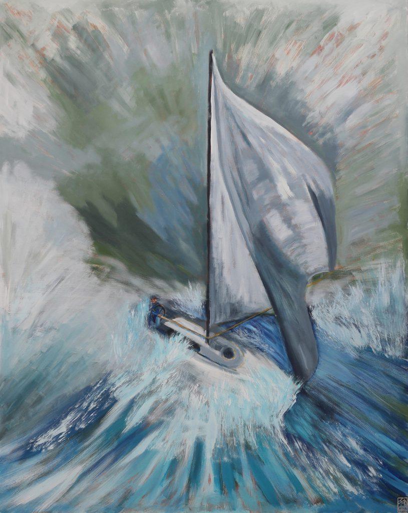 "Julia Michelle Dawson, ""Mastering the Mistrial"", 2018. Acrylic on canvas. 48"" x 60"". Courtesy of the artist."