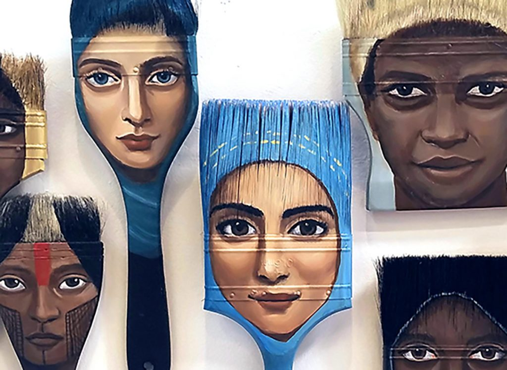 "Alexandra Dillon, The Displaced-Immigrant Women from around the World, 2018. Acrylic on vintage paintbrush. 36"" x 20"". Courtesy of the artist."