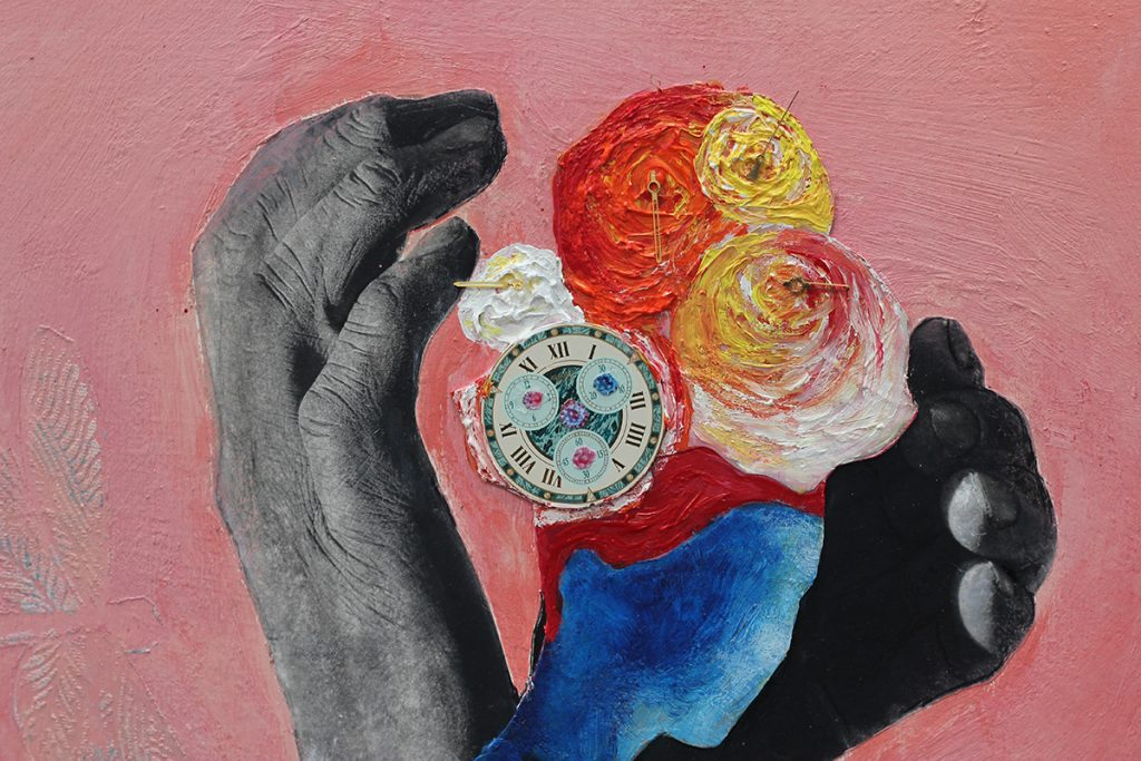 """Yrneh Gabon, ECHO IN TIME, 2020. Mixed media; Acrylic, cactus fiber, wooden panel, 24k gold plated metal, vinyl. Treated photo paper, acrylic gel, iridescent acrylic, silver, archival black pigmented ink. 16"""" x 20"""" in. Courtesy of the artist."""