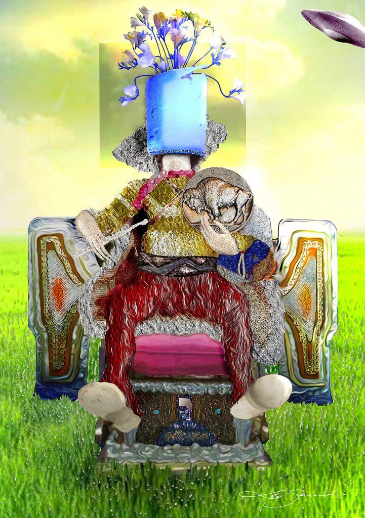 """Leo Garcia, Fear Not, 2020. Mixed Media / Digital. 16"""" x 10"""". Courtesy of the artist. https://www.myalienabduction.net/"""