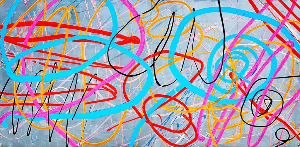 "Susie McKay Krieser, Healing and Happiness - an Evolving Piece, 2020. Acrylic Paint and Lacquer on Aluminum. 48"" x 96"". Photo by the Artist. Courtesy of the artist."
